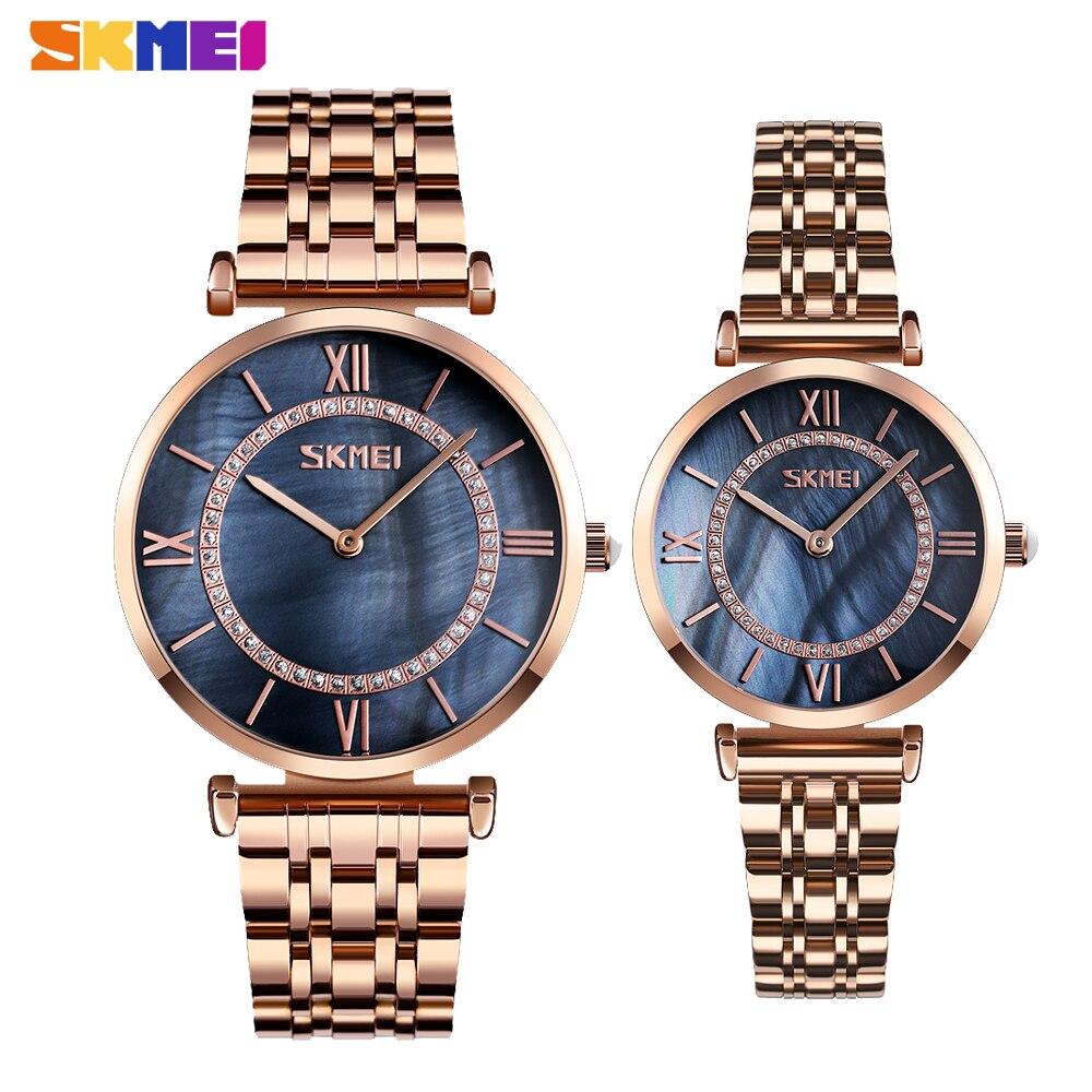 SKMEI Luxury Lover's Women Men Quartz Watches Fashion Simple Waterproof Steel Strap Clock Couple Bracelet Wristwatch Reloj Mujer