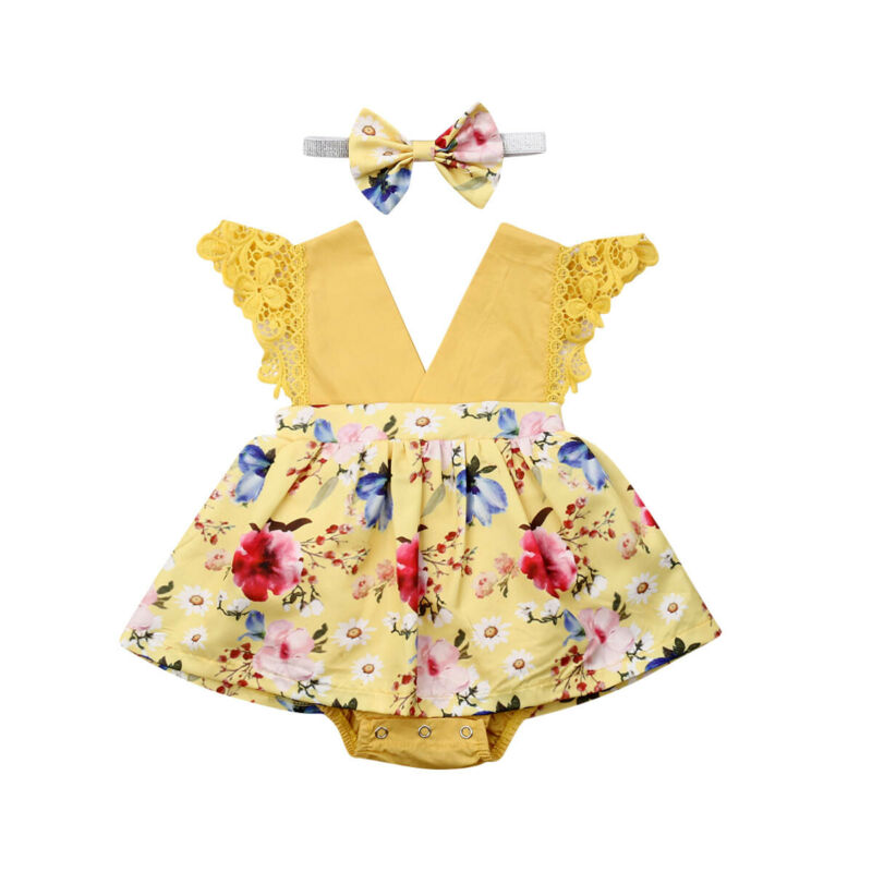 Cute Newborn Baby Girl Lace Princess Romper Dress Flower Dress Clothes Sleeveless V Neck Yellow Jumpsuit Headband 2 Pcs Set