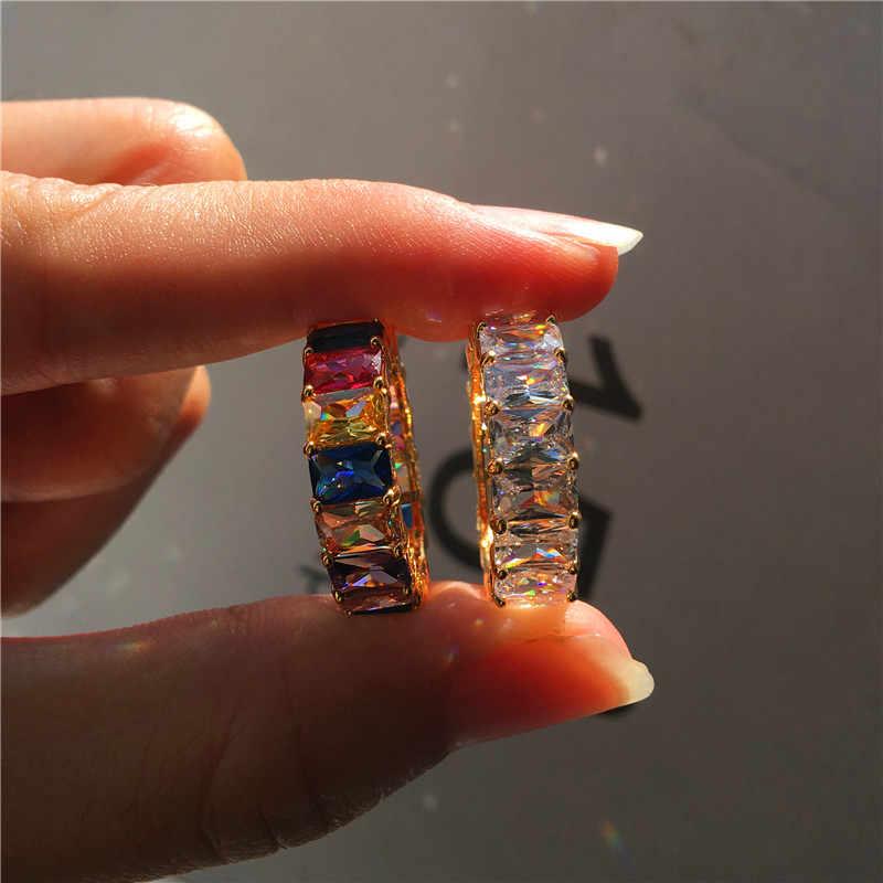 매력 여성 스퀘어 레인보우 지르콘 반지 럭셔리 러브 웨딩 약혼 반지 여성을위한 독특한 옐로우 골드 손가락 반지