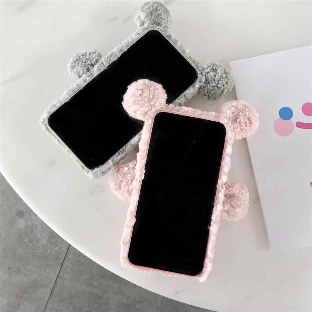 Bonito morno bling diamante caso feminino para iphone 11 pro max 6s 7 8 plus x xs max xr adorável urso encaracolado peludo macio tpu capa traseira