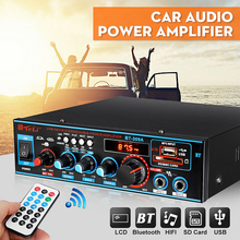 2CH 800W HIFI Audio Power Amplifier 12/220V FM SD Mic Bluetooth Remote Control Stereo Audio Amplifier for Car Home Sound System kroak wireless bluetooth car amplifier music player 12v 220v 2ch hifi auto audio stereo power amplifier bass fm radio for home