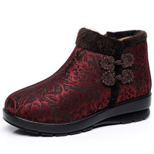 2019 winter women's cotton shoes high top side zipper slope heel cotton shoes middle-aged and elderly non slip cotton boots middle aged and elderly people with cotton cotton diabetes shoes foot swelling variable foot care shoes bunion gout shoes