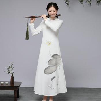 Tradycyjna chińska odzież dla kobiet orientalna sukienka nowoczesny elegancki chiński Cheongsam Qipao tradycyjna azjatycka sukienka FF2548 tanie i dobre opinie EASTQUEEN COTTON Linen Poliester Suknie Szyfonowa