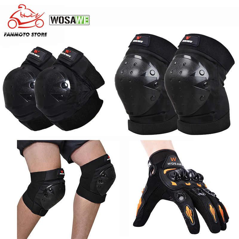 WOSAWE 6 шт. Спортивные Защитные комплекты наколенники налокотники для гонок на велосипеде, катание на коньках, лыжные Мотоциклетные Перчатки наколенники налокотники для поддержки