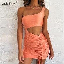 Nadafair Bodycon Mini vestido de verano de las mujeres Club hueco acanalada vestido naranja blanco negro tipo Bandage de fiesta mujer Sexy vestidos