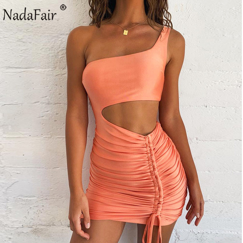 Nadafair One Shoulder Summer Sexy Bodycon Dress Women Hollow Out Ruched Backless Bandage Mini Club Party Dress Orange White
