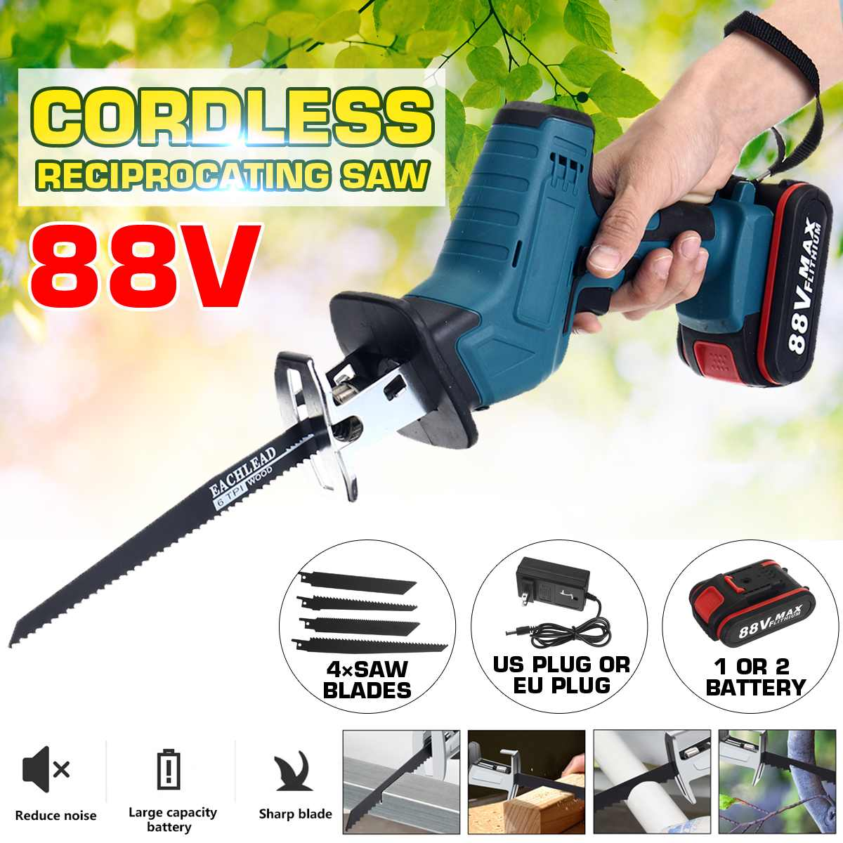 88V Cordless Reciprocating Saw With 4 Blades Rechargeable Electric Saw for Sawing Branches Metal PVC Wood Cutting Machine Tool