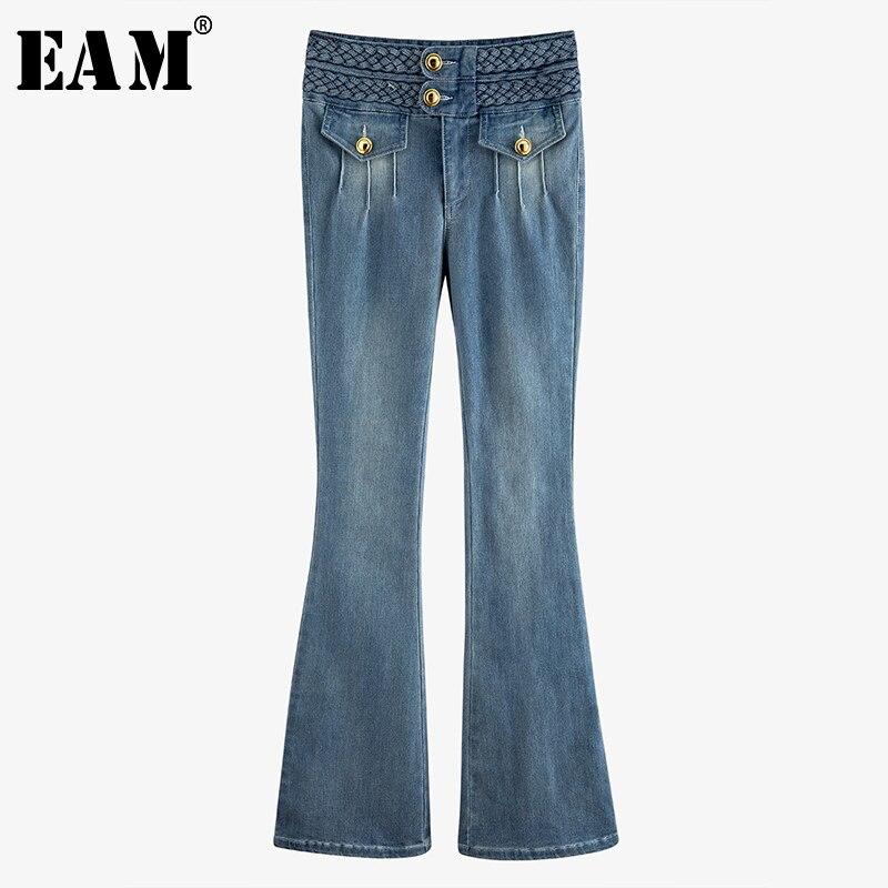 [EAM] \blue Pleated Split Joint Long Denim Flare Jeans New High Waist Loose Women Trousers Fashion Spring Autumn 2020 WM23705