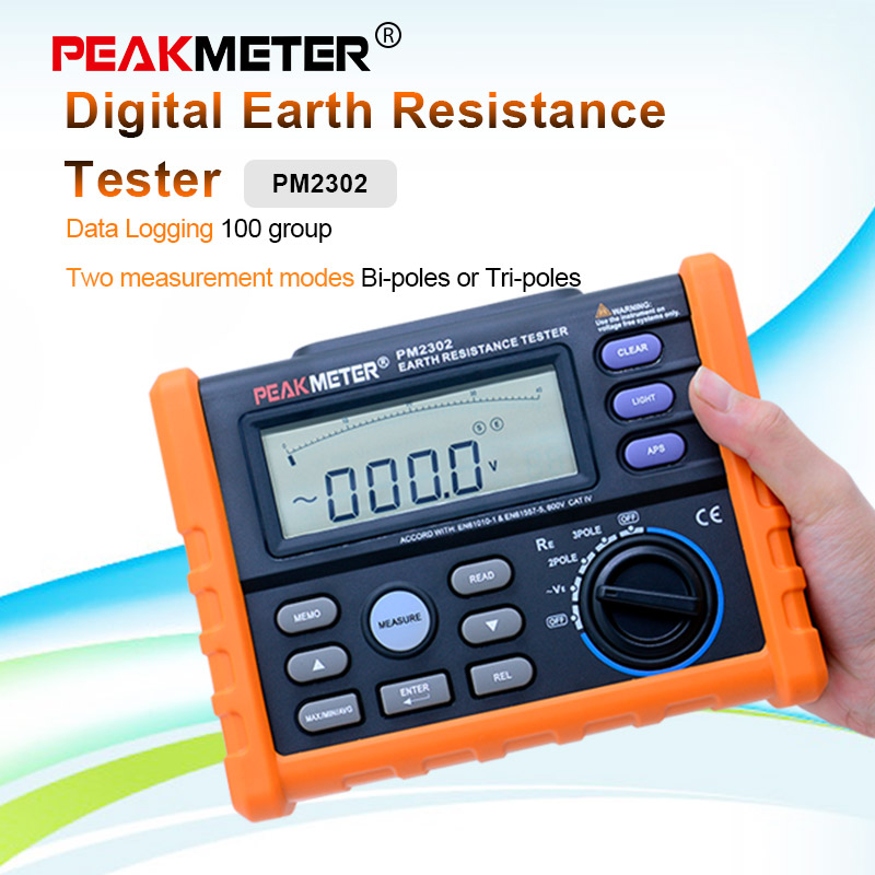 Grupos de Registro de Dados com Display Peakmeter Digital Earth Tester Resistência Megger 0ohm4k Ohm 100 Lcd Backlight Ms2302