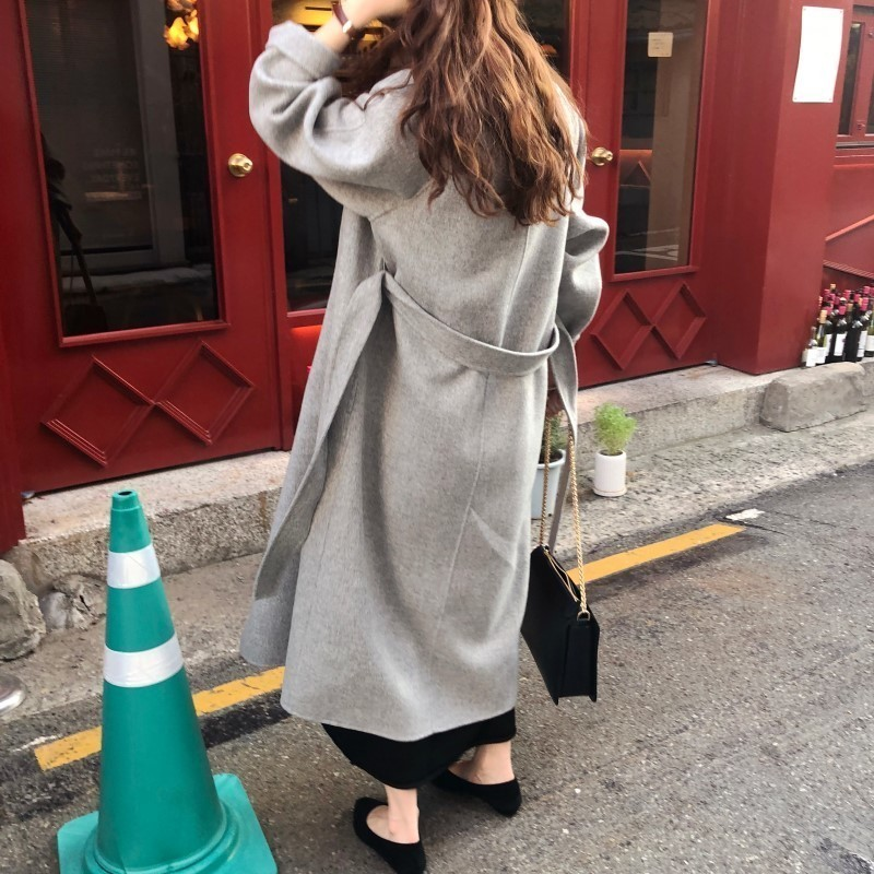 H4c5562c590584dd9925dfc4b45303c61R Winter Fashion Coats Women Wool-blend Coat Lazy Oaf Long Chunky Warm Coat Western Style Fitted Waist Lace-up  Loose Coat