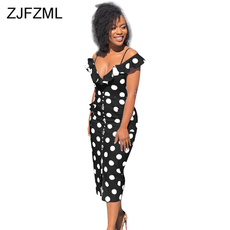<font><b>Black</b></font> White Polka Dot <font><b>Sexy</b></font> <font><b>Summer</b></font> <font><b>Dress</b></font> <font><b>2019</b></font> Women Deep V Neck Buttons Up Long <font><b>Dress</b></font> Elegant Ladies Open Back <font><b>Bodycon</b></font> <font><b>Dresses</b></font> image