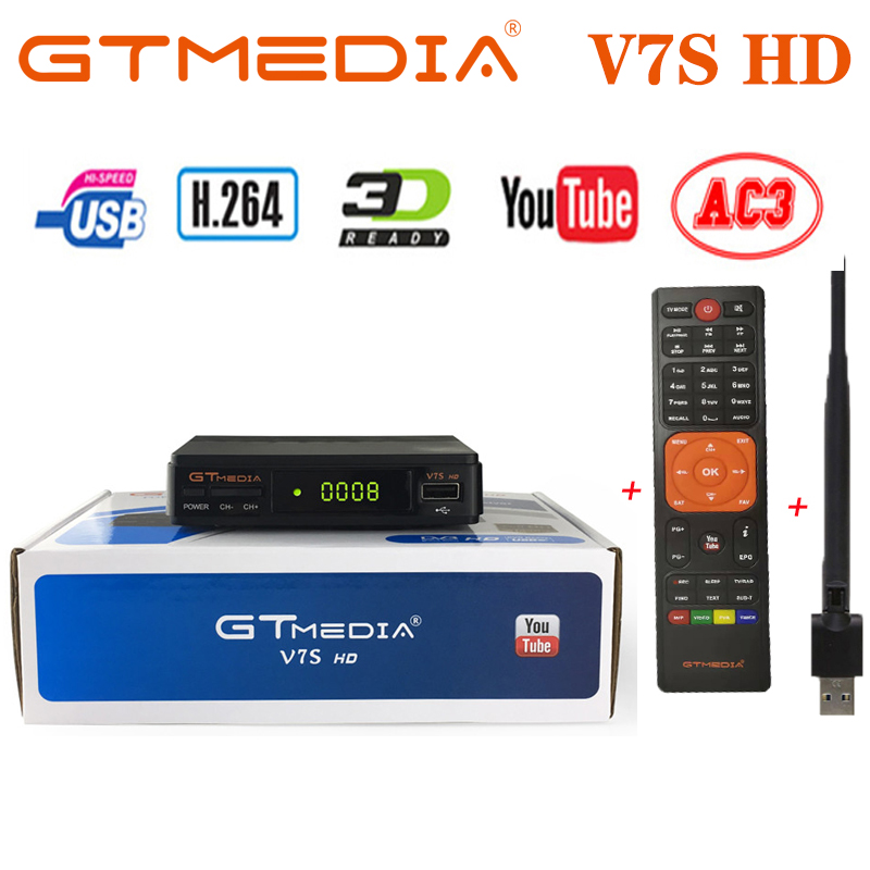 GTMEDIA V7S HD DVB-S2 With USB WIFI FTA TV Satellite Receiver DVB-S2 Youtube FULL HD 1080P V7 HD Upgrade Satellite Receiver