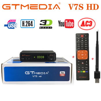 цена на GTMEDIA V7S HD DVB-S2 With USB WIFI FTA TV Satellite Receiver DVB-S2 Youtube FULL HD 1080P V7 HD Upgrade Satellite Receiver