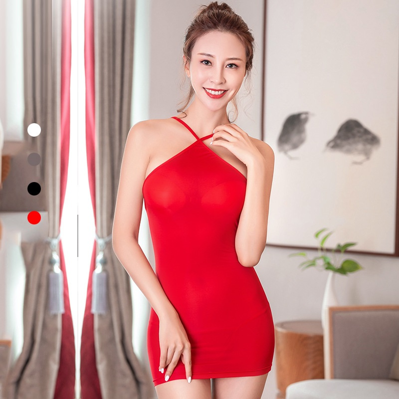 Sexy Candy Color Babydoll Shiny Strap Backless Tight Pencil Cute Mini Dress Ice Silk Transparent Bandage Dress With G-string