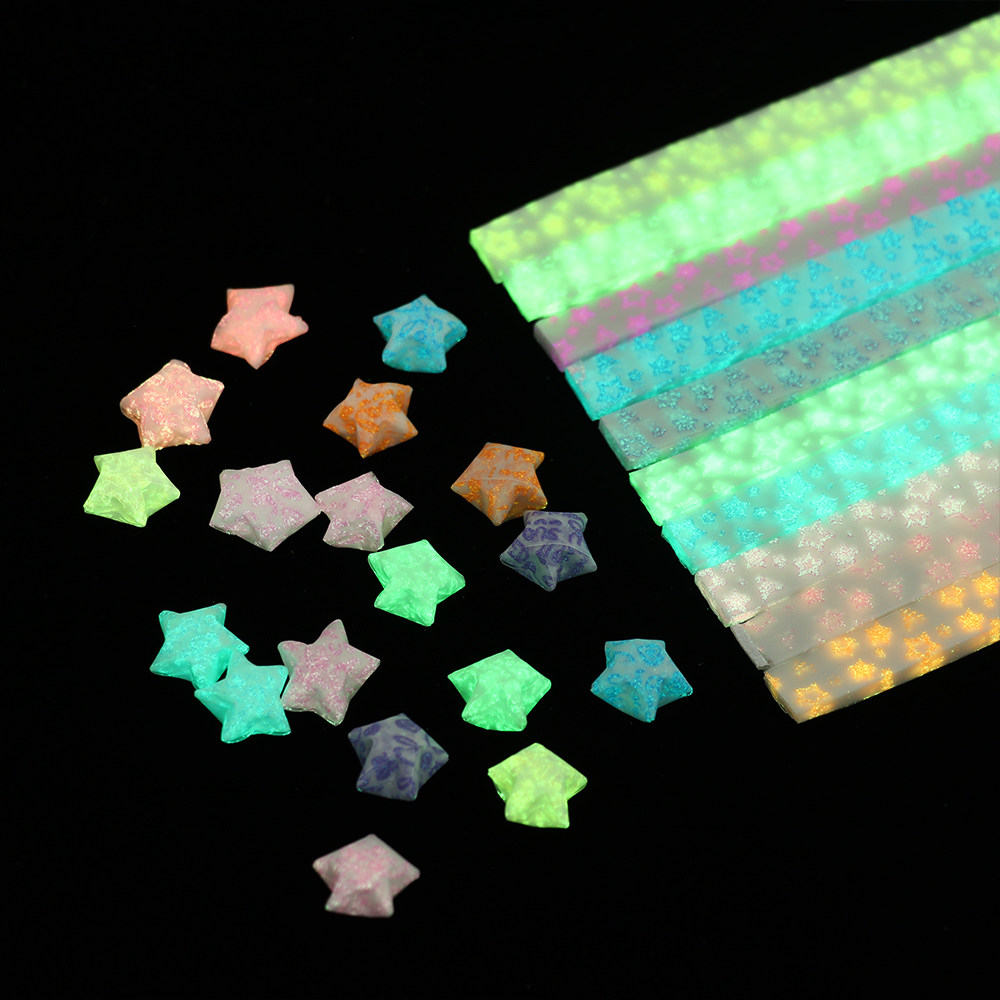 1 Bag 80x Origami Lucky Star Paper Strips Folding Paper Ribbons Colorful