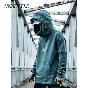 Image 3 - Unsettle Vis Mond Japanse Harajuku Borduurwerk Tactiek Streetwear Hoodies Hip Hop Mannen Trui Hoodie Casual Sweatshirts Tops