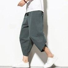 Dropshipping letnie bawełniane spodnie haremowe męskie dorywczo spodnie Hip hopowe krzyżowe Bloomers spodnie długości łydki biegaczy Streetwear