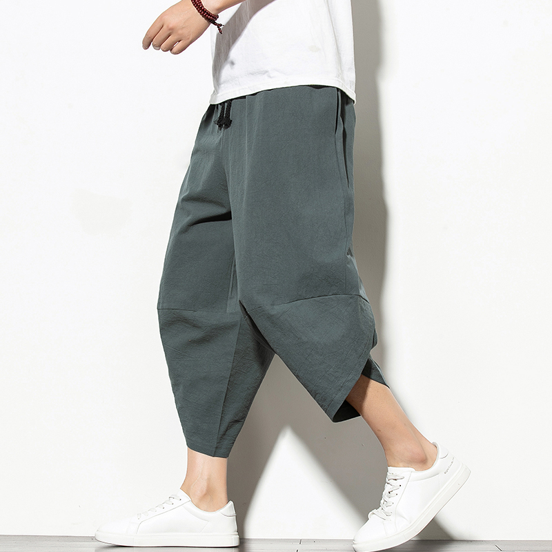 Summer Cotton Harem Pants Men Casual Hip Hop Trousers Drawstring Cross Bloomers Calf-Length Pants Joggers Streetwear