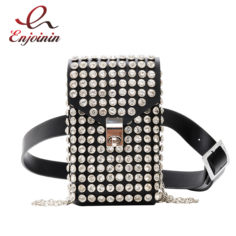 Black &White Luxury Designer Fanny Pack For Women Rhinestone Waist Chest Bag Money Phone Pouch Fashion Ladies Belt Bags Purses