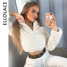 Ellolace Fashion Casual Sweatshirt with Zipper Women Warm Streetwear Outerwear Coat Tops Soft Ladies Solid 2019 Basic Pollover