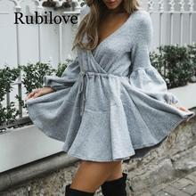 Rubilove New Women V Neck Ruffle Knitted Sweater Dress Autumn Winter Lace Up Short Dresses Casual Long Sleeve Solid A-Line Dress autumn winter women pullover sweater sexy deep v neck black color sweater dresses hollow lace up short knitted dress for ladies