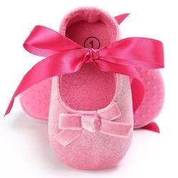 Новорожденных девочек принцесса обувь лук шелковая лента младенца первые ходунки обувь с мягкой подошвой # E