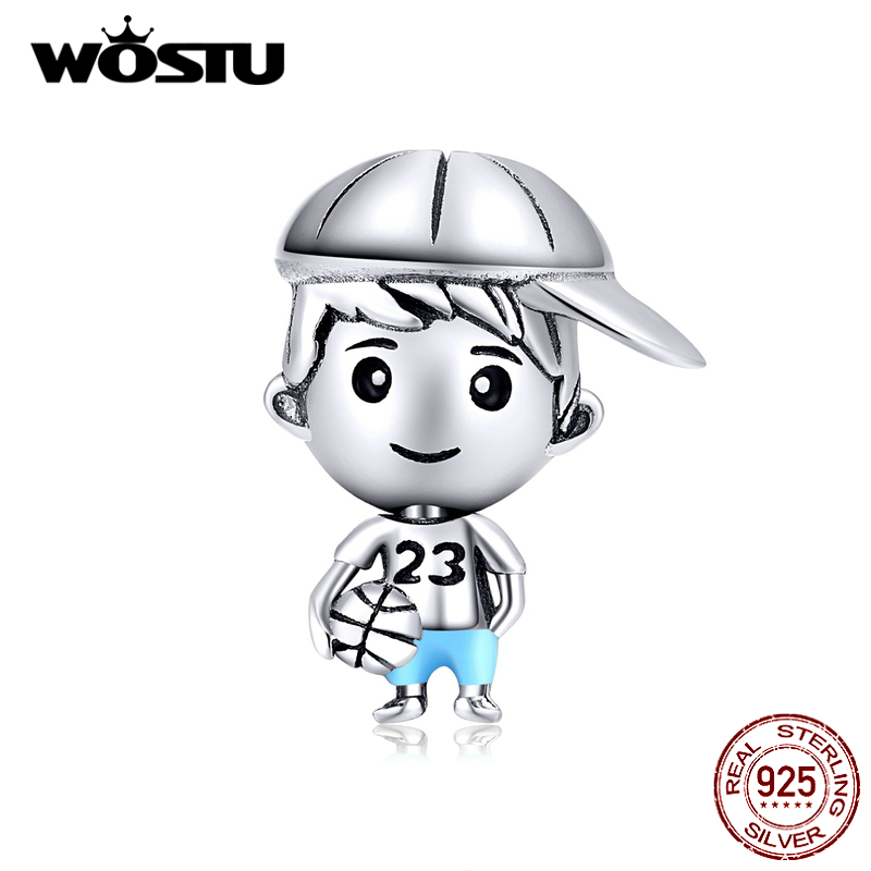 WOSTU Little Brother & Sister Family Charms 925 Sterling Silver Boy & Girl Beads Fit Original Bracelet Necklace Jewelry CTC173