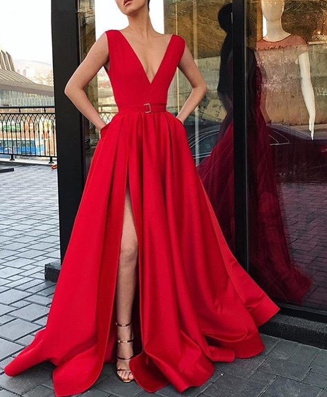Red   Prom     Dress   2019 A-line V-neck Cap Sleeves Slit Sexy Formal Long   Prom   Gown Evening   Dresses   Robe De Soiree