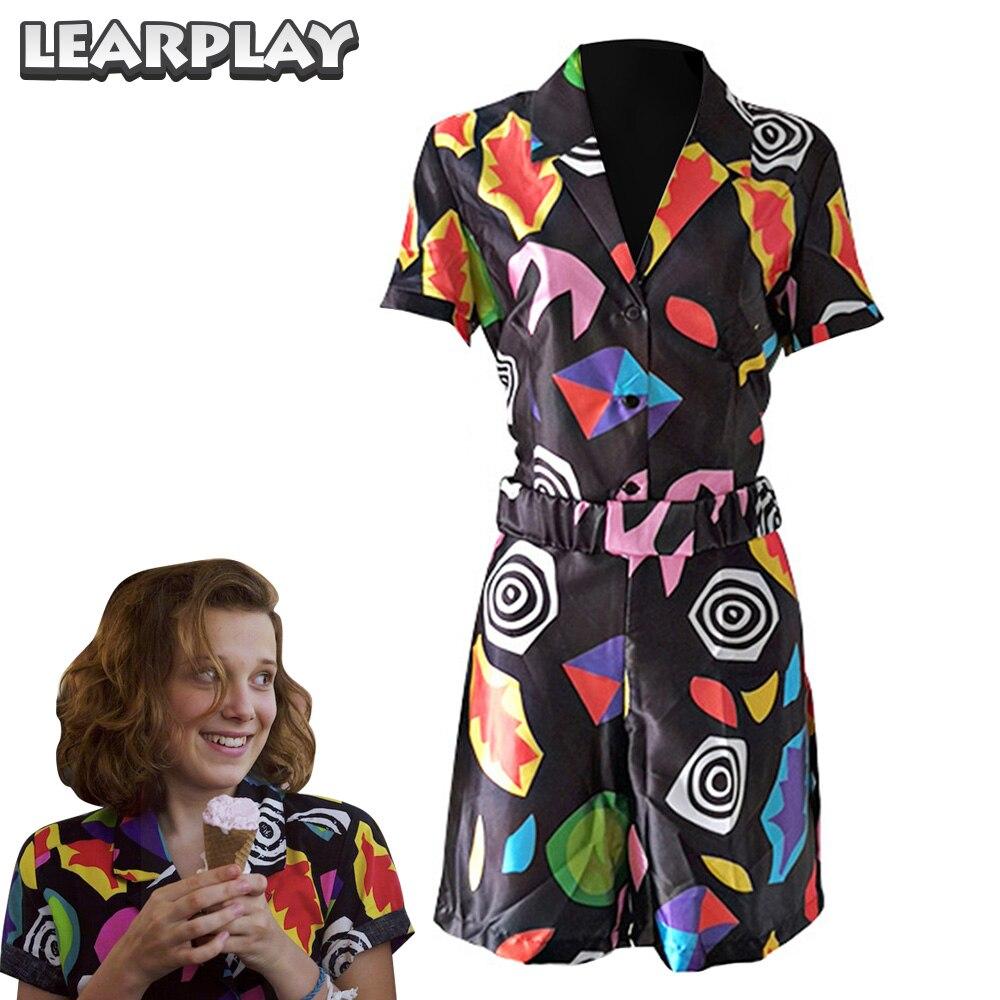 Étranger choses saison 3 onze Cosplay Costume femmes Memphis Style manches courtes v-cou combinaison Halloween carnaval fête robe