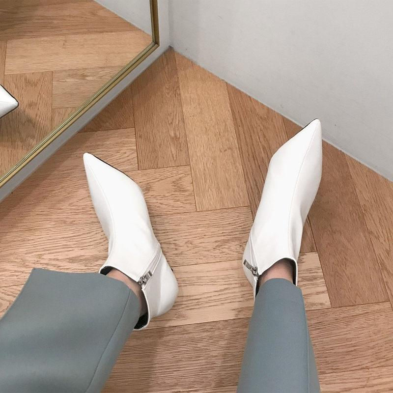 2018 осень и зима, новый стиль с тонкими заостренными каблуками, сапоги на шнуровке, белые сапоги, кожаные сапоги, женские сапоги, весна, wedgie|Полусапожки|   | АлиЭкспресс - Женская обувь