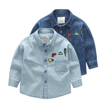 Boys blouse kids 95% cotton casual jeans shirt child cowboys Clothes boys Children Long-sleeved clothes outwear