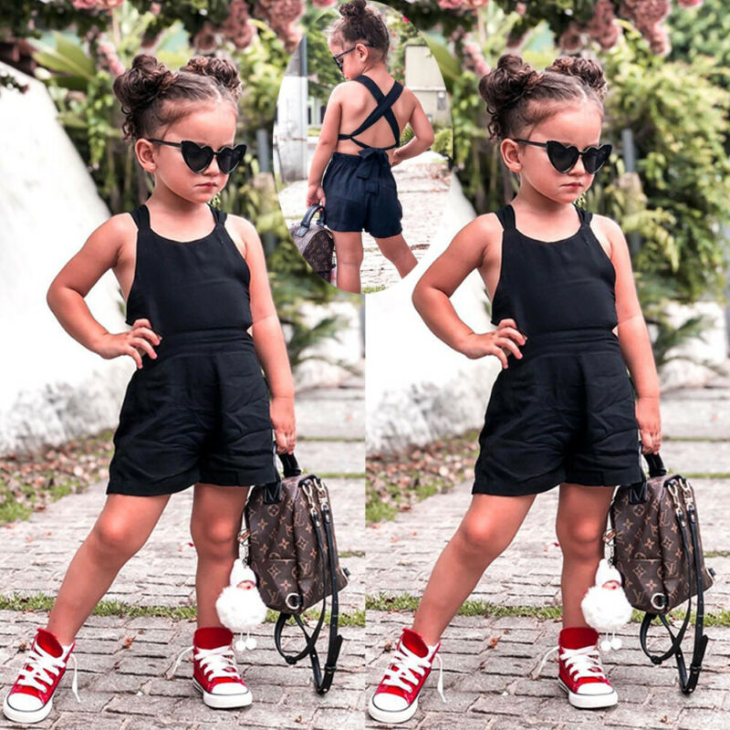Summer Toddler Girls Casual Strap Jumpsuit Playsuit Outfit 1-6Y