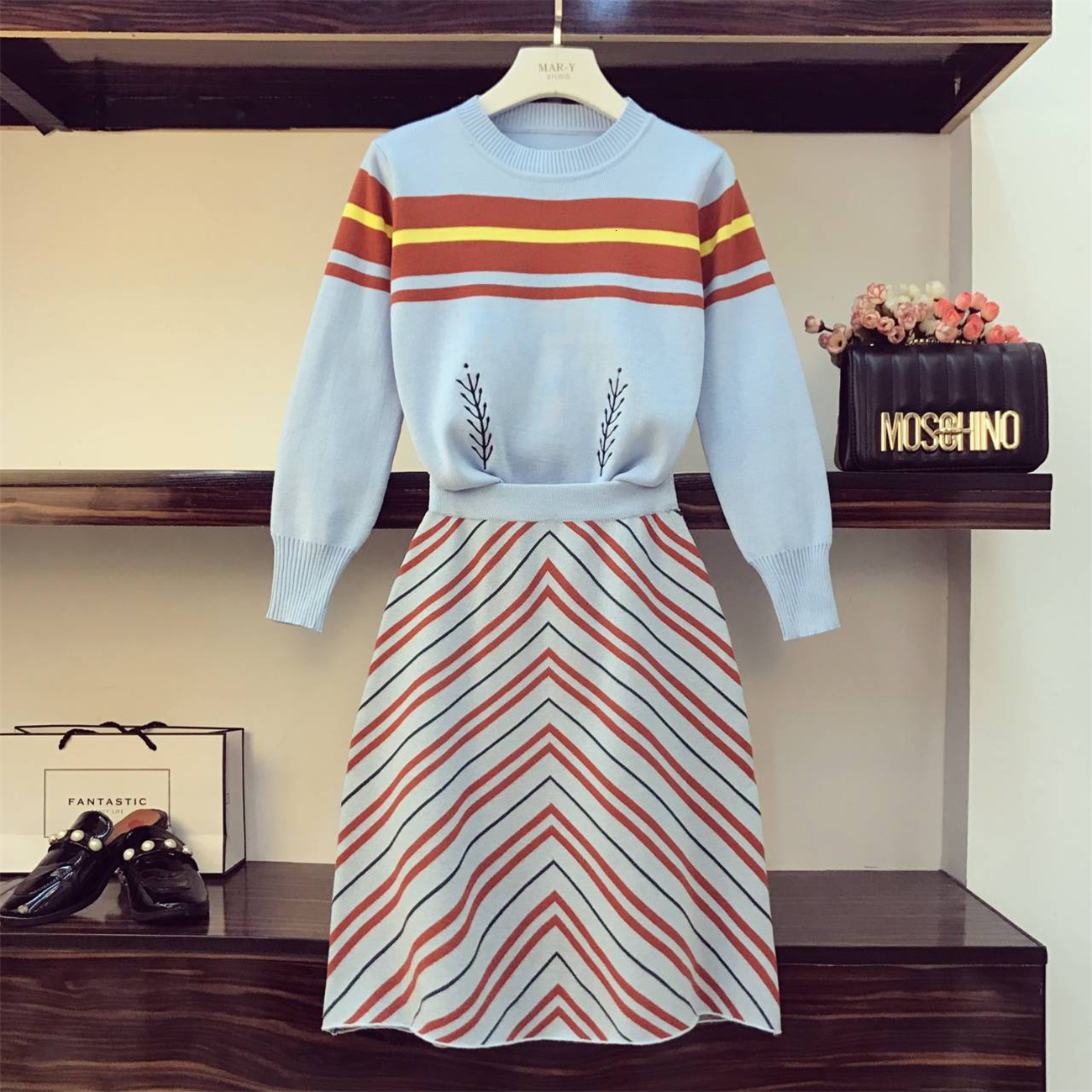 2019 Autumn Knitted Dress Suit For Women Two-piece Suit Long Sleeve Pull Sweater + Striped Skirt Girls Lady Fashion Skirts Set