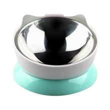 Pet Cat Dogs Egg Stainless Steel 15 Degree Tilt Neck Design Feeder Adjustable Slip Slow Feed