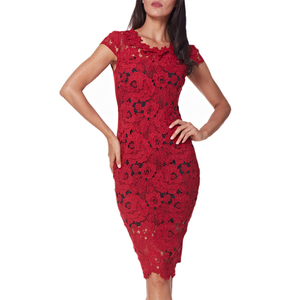 Image 3 - OTEN Office ladies dresses Elegant womens sexy lace hollow out knee length work office business sheath bodycon dress robe crayon