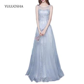 YULUOSHA New Gown Formal Dress Backless Draped Ruffles Sequined Formal Dresses Evening Gown Vestido Largo Fiesta Noche Elegante