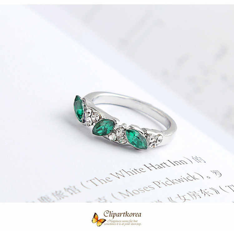 Rose Gold Colorful Dream Blocks Crystal Retro Zircon Shiny Lady Ring Engagement Wedding Cocktail Ring Valentine's Day Gift