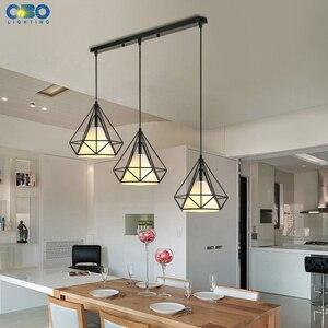 Image 4 - Vintage Hanglamp Ijzer Doek Lampenkap Black Restaurant/Theehuis Indoor Ijzeren Ketting Verlichting Moderne Hanglampen 3 Heads