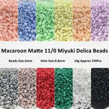 Perles Miyuki Delica en verre mat, perles uniformes, couleurs macarons, givrées pour la fabrication d'accessoires de couture, 2mm, 11/0