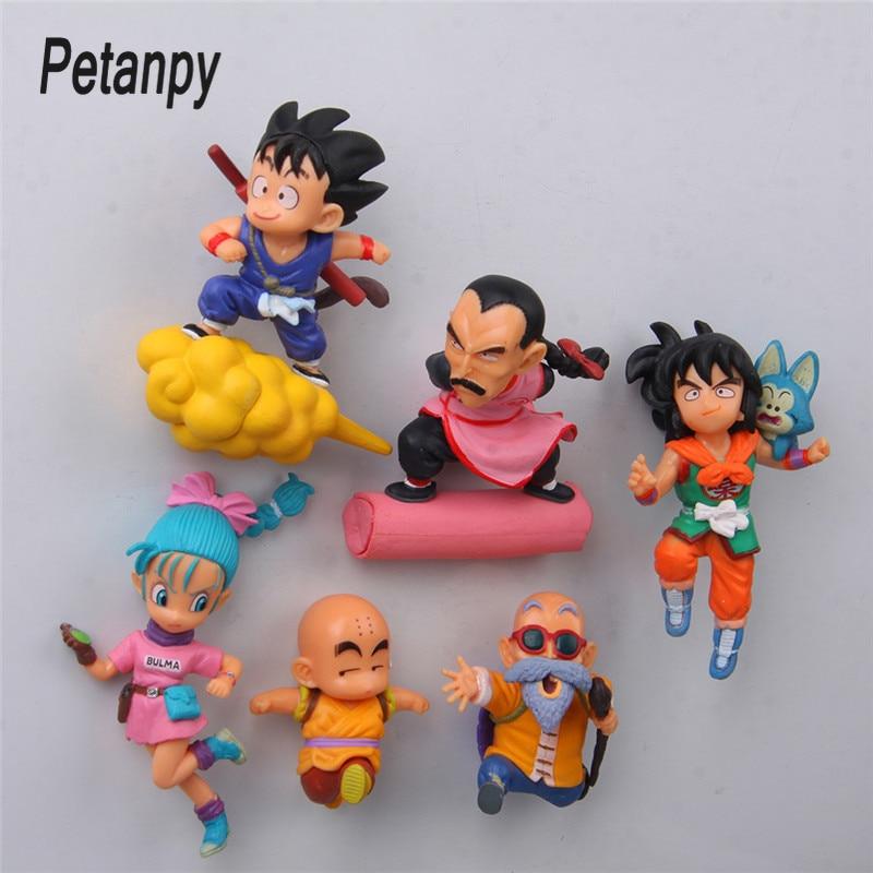 6 pcs/lot Dragon ball anime action figure fridge magnets figurine SON Goku ChiChi Oolong toys for children Gift