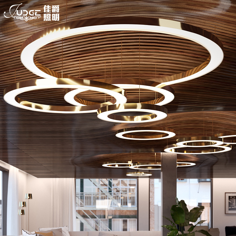 Led anel de ouro forma um lustre pós moderna concisa originalidade personalidade lobby uma sala estar lâmpada do hotel um lustre - 2