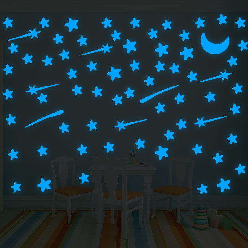 1set Glow In The Dark Sticker Toys Luminous Star Moon Meteor DIY Phosphorescent Wall Stickers For Baby Bedroom Home Wall Decor