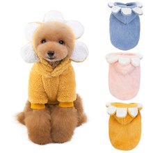 Sunflower Shape Soft Fleece Dog Clothes Pet Dog Dress Pattern Coral Velvet Deer Christmas Puppy Coat Two Legs Clothing For Dog(China)