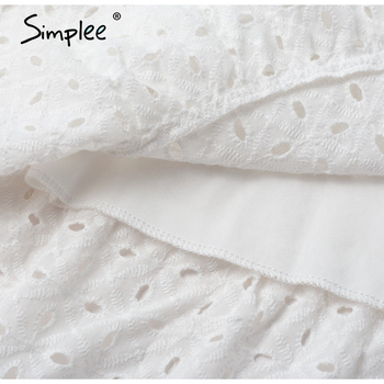 Simplee Casual white women summer beach dress Bow-knot spaghetti embroidery female midi dress backless holiday dress vestidos 6