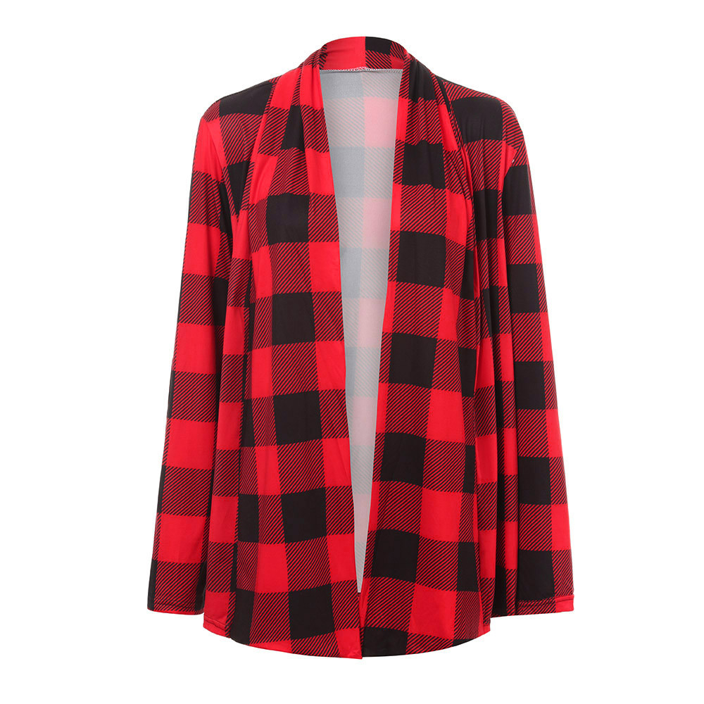 US $11.69 43% OFF Classic Thin Female's Coats Womens Buffalo Plaid Cardigans Long Sleeve Elbow Patch Draped Open Front Cardiga Coat veste