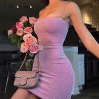 Chrleisure sexy nightclub vestido de verão magro feminino mini vestido apertado fina alça de ombro vestido curto feminino