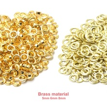 100sets Brass Material Gold 5mm 6mm 8mm Grommet Eyelet With Washer Fit Leather Craft Shoes Belt Cap Bag Diy Supplies Accessories