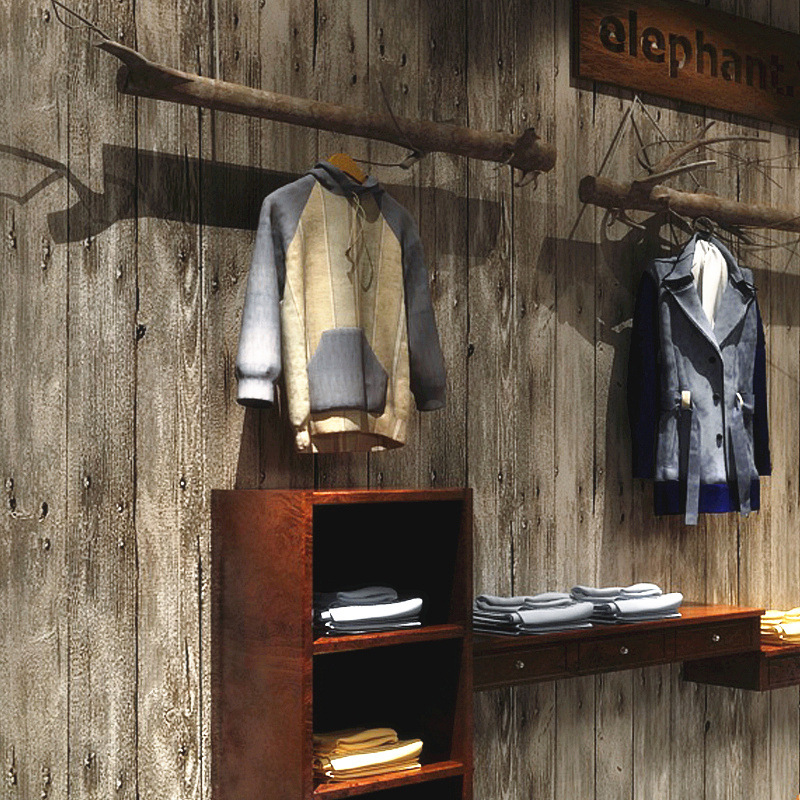 Vintage Clothing Store Wallpaper Imitation Board Wood Texture Cool Fashion Shop Decorating WOMEN'S Dress Nostalgia Wood Grain Wa