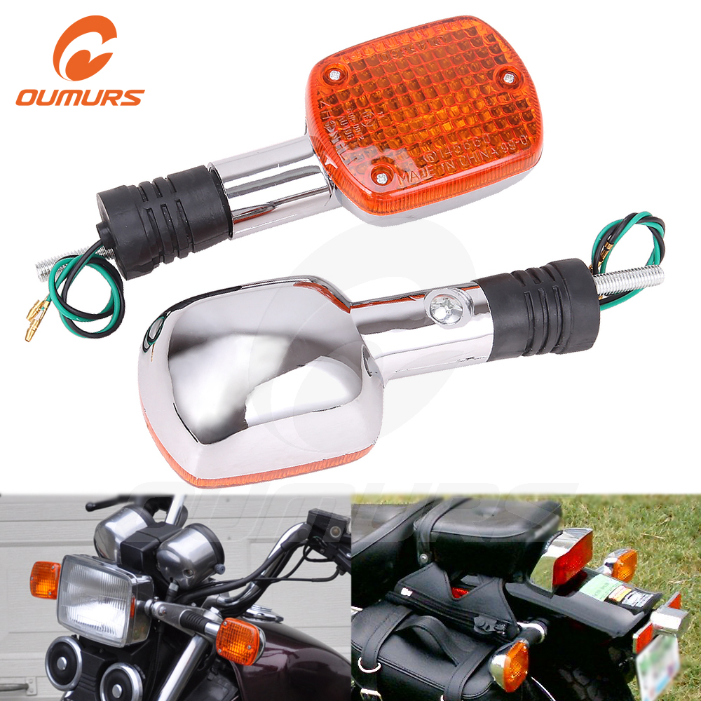 OUMURS New Motorcycle Turn Signal LED Light Chrome 8mm For Honda Rebel CA250 CMX400 Shadow VT400 1100 Steed VLX600 Magna VF750