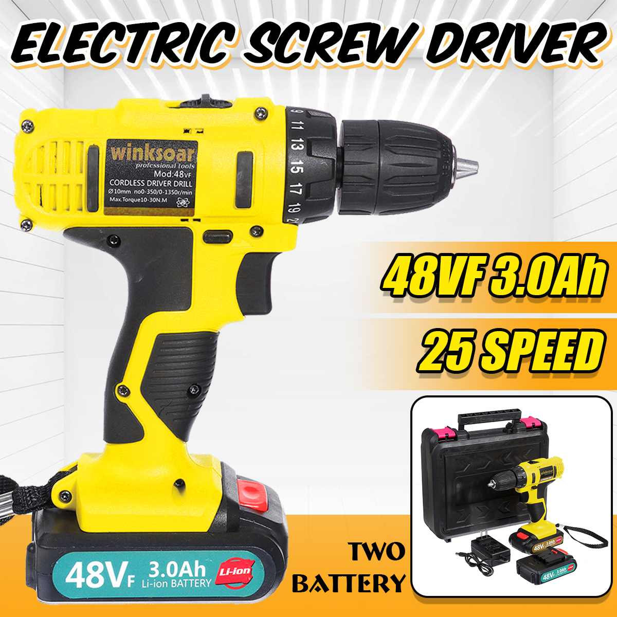 48V Cordless Electric Screwdriver Impact Drill 25+1 Double Speed Rechargeable Li-Ion Battery Operated LED Lighting Power Tools